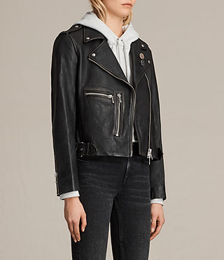 Womens Milne Vintage Leather Biker Jacket (Black) - product_image_alt_text_3