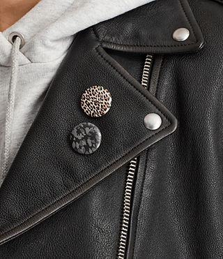 Womens Milne Vintage Leather Biker Jacket (Black) - product_image_alt_text_4