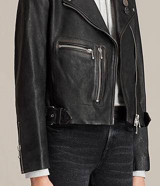 Womens Milne Vintage Leather Biker Jacket (Black) - product_image_alt_text_6