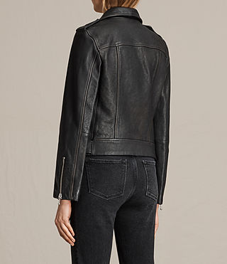 Womens Milne Vintage Leather Biker Jacket (Black) - product_image_alt_text_8