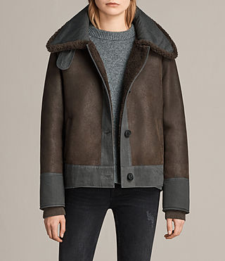 Womens Calder Shearling Jacket (Chocolate Brown)