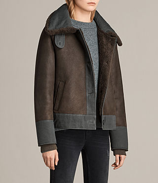 Women's Calder Shearling Jacket (Chocolate Brown) - product_image_alt_text_3