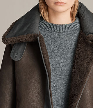 Women's Calder Shearling Jacket (Chocolate Brown) - product_image_alt_text_4