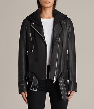 oversized hooded leather biker