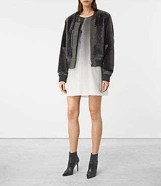 Damen Finch Shearling Bomber Jacket (ANTHRACITE GREY)