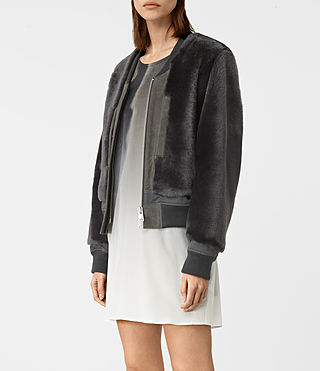 Women's Finch Shearling Bomber Jacket (ANTHRACITE GREY) - product_image_alt_text_2