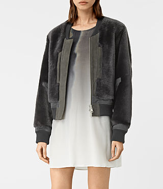 Women's Finch Shearling Bomber Jacket (ANTHRACITE GREY) - product_image_alt_text_3