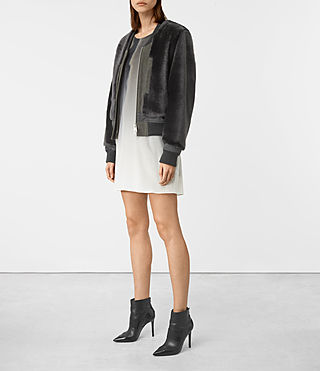 Women's Finch Shearling Bomber Jacket (ANTHRACITE GREY) - product_image_alt_text_4