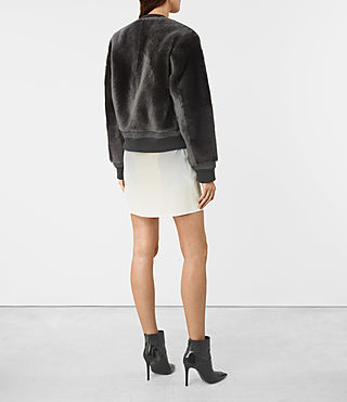 Women's Finch Shearling Bomber Jacket (ANTHRACITE GREY) - product_image_alt_text_5