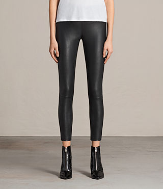 Womens Ava Leather Leggings (Black) - product_image_alt_text_1