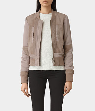 Donne Craddock Suede Bomber Jacket (FIG PINK)