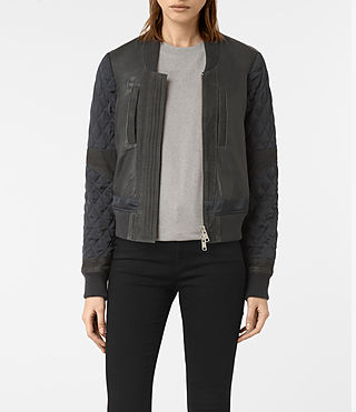 Femmes Darnley Leather Bomber Jacket (Steel)