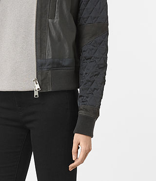 Mujer Darnley Leather Bomber Jacket (Steel) - product_image_alt_text_3