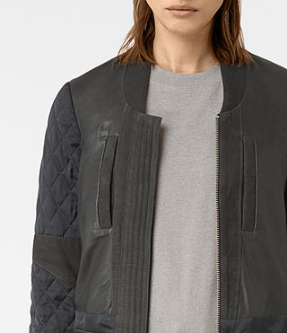 Mujer Darnley Leather Bomber Jacket (Steel) - product_image_alt_text_4