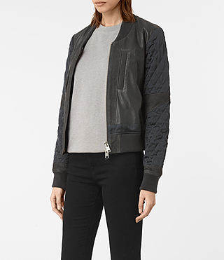 Mujer Darnley Leather Bomber Jacket (Steel) - product_image_alt_text_5