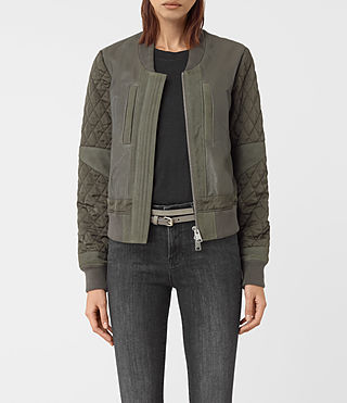 Mujer Darnley Leather Bomber Jacket (Khaki Green) -