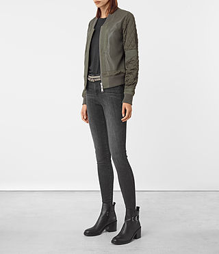 Mujer Darnley Leather Bomber Jacket (Khaki Green) - product_image_alt_text_2