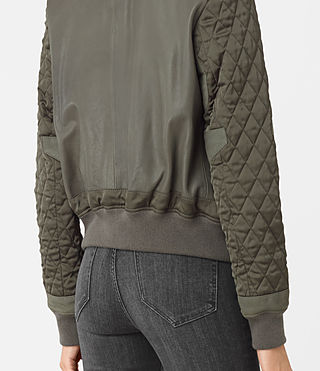 Mujer Darnley Leather Bomber Jacket (Khaki Green) - product_image_alt_text_3