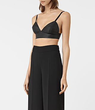 Women's Boswell Leather Bralet (Black) - product_image_alt_text_3