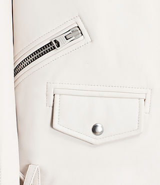 Women's Oversized Leather Biker Jacket (White) - product_image_alt_text_2
