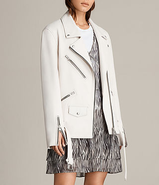 Women's Oversized Leather Biker Jacket (White) - product_image_alt_text_3