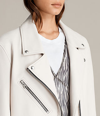 Women's Oversized Leather Biker Jacket (White) - product_image_alt_text_6