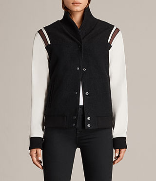 Womens Bordin Striped Baseball Jacket (BLACK/OYSTER WHITE) - Image 1
