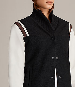 Womens Bordin Striped Baseball Jacket (BLACK/OYSTER WHITE) - Image 2