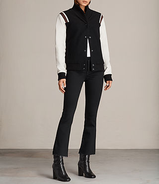 Womens Bordin Striped Baseball Jacket (BLACK/OYSTER WHITE) - Image 3