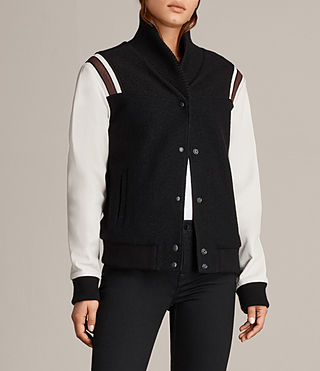 Womens Bordin Striped Baseball Jacket (BLACK/OYSTER WHITE) - Image 6