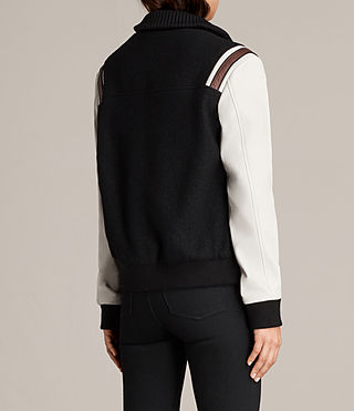 Womens Bordin Striped Baseball Jacket (BLACK/OYSTER WHITE) - Image 8