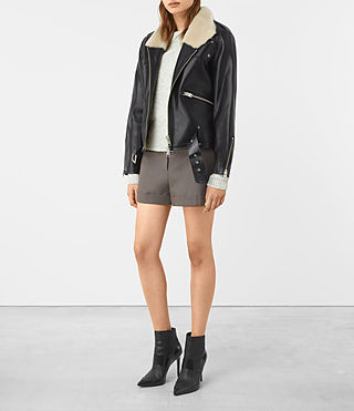 Mujer Mcguire Leather Biker Jacket (Black) - product_image_alt_text_2
