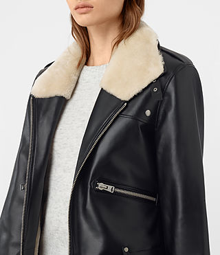 Mujer Mcguire Leather Biker Jacket (Black) - product_image_alt_text_3