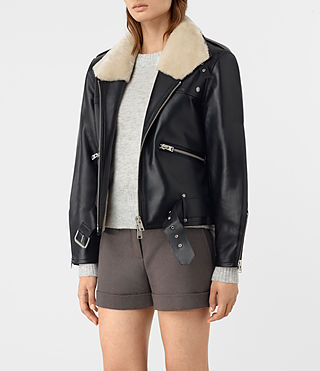 Mujer Mcguire Leather Biker Jacket (Black) - product_image_alt_text_4