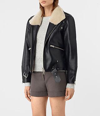 Femmes Mcguire Leather Biker Jacket (Black) - product_image_alt_text_4