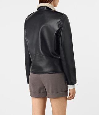 Femmes Mcguire Leather Biker Jacket (Black) - product_image_alt_text_5