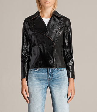 Womens Deebee Payton Leather Blazer (Black) - product_image_alt_text_1