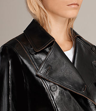 Mujer Deebee Payton Leather Blazer (Black) - product_image_alt_text_2