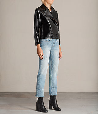 Mujer Deebee Payton Leather Blazer (Black) - product_image_alt_text_3
