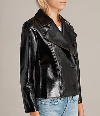 Womens Deebee Payton Leather Blazer (Black) - product_image_alt_text_5