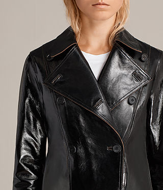 Womens Deebee Payton Leather Blazer (Black) - product_image_alt_text_7