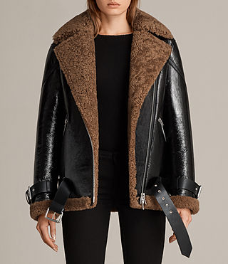 Mujer Hawley Oversized Shearling Biker Jacket (Black/Brown) -