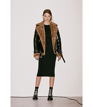 Women's Hawley Oversized Shearling Biker Jacket (Black/Brown) - Image 10
