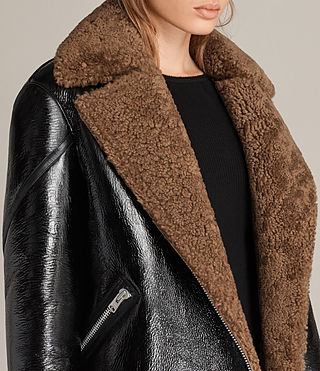 Women's Hawley Oversized Shearling Biker Jacket (Black/Brown) - Image 2