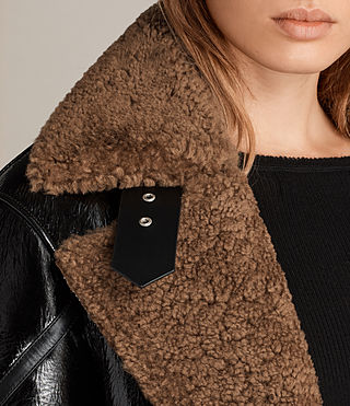 Mujer Hawley Oversized Shearling Biker Jacket (Black/Brown) - product_image_alt_text_3