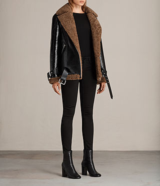 Mujer Hawley Oversized Shearling Biker Jacket (Black/Brown) - product_image_alt_text_4