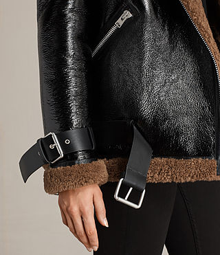 Mujer Hawley Oversized Shearling Biker Jacket (Black/Brown) - product_image_alt_text_8