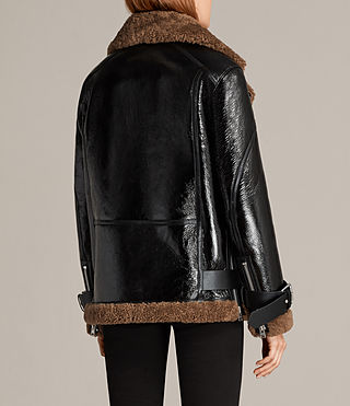 Mujer Hawley Oversized Shearling Biker Jacket (Black/Brown) - product_image_alt_text_9