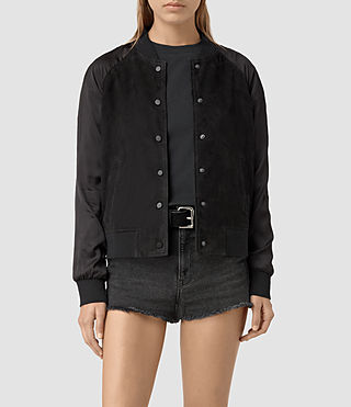Mujer Collison Suede Bomber Jacket (Washed Black)