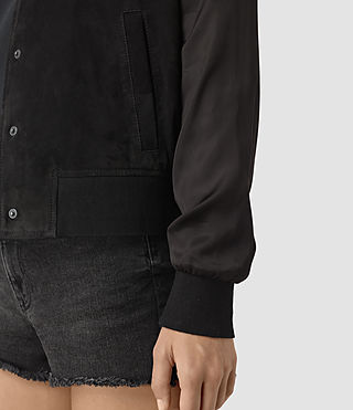 Mujer Collison Suede Bomber Jacket (Washed Black) - product_image_alt_text_2